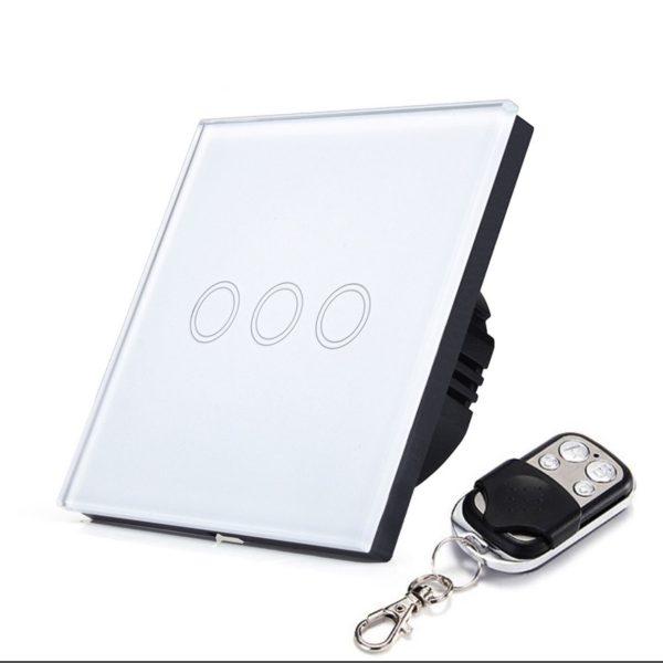бял тъч ключ с три бутона