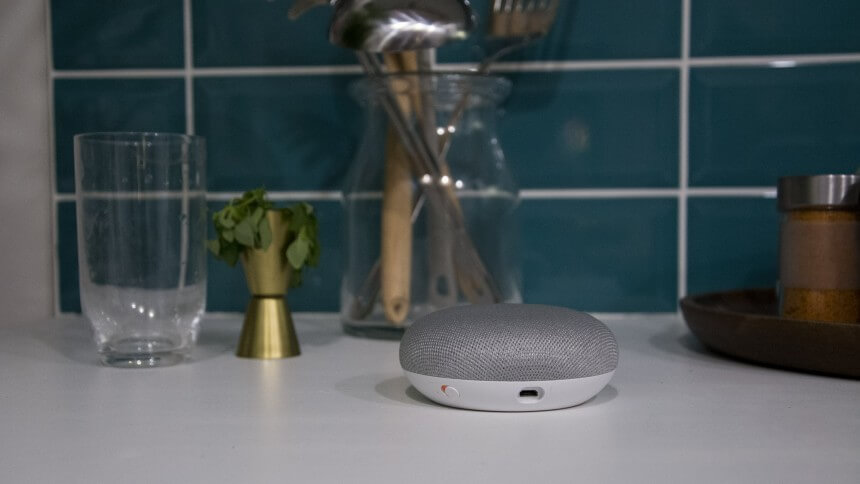 google home mini светло сив