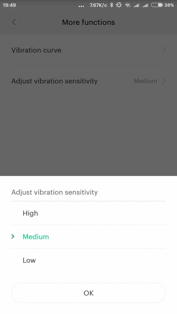 чувствителност на сензор за вибрации