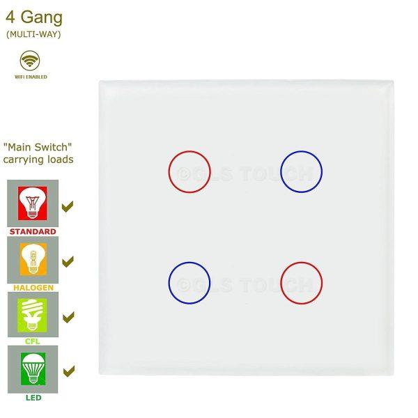 сензорен ключ за осветление с WiFi 4 бутона бял цвят