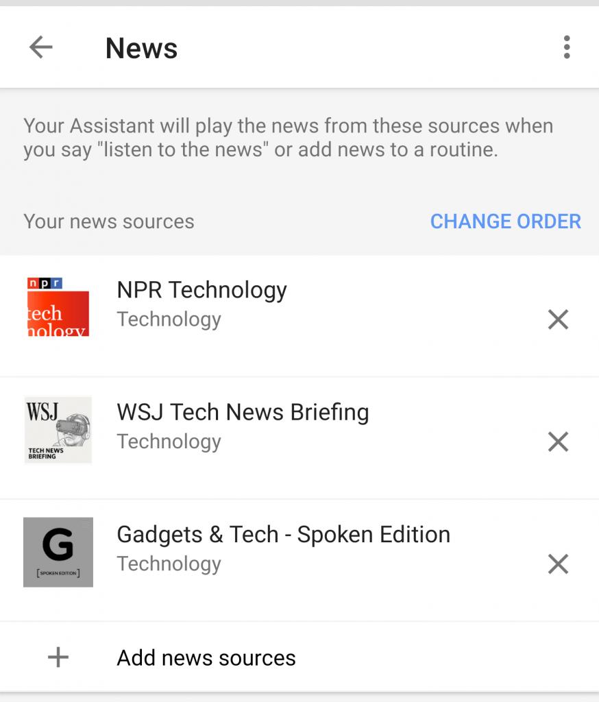 избор на новини от гугъл хоум асистент