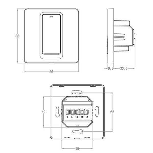 размери на смарт WiFi ключ за осветление