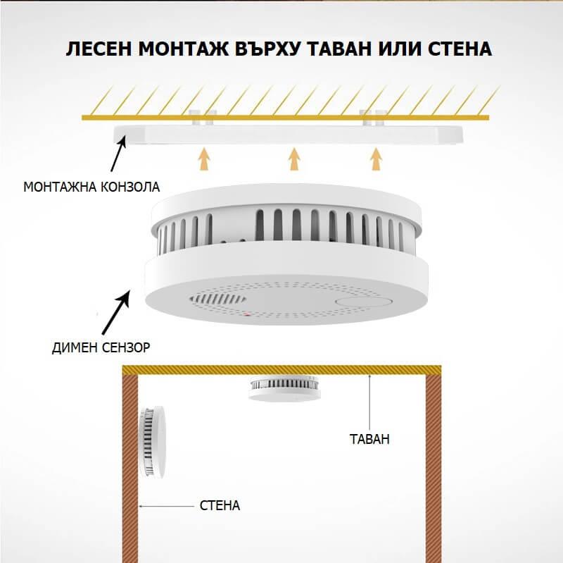 WiFi сензор за дим монтаж