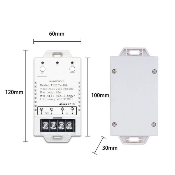 размери на WiFi RF 40 контролер
