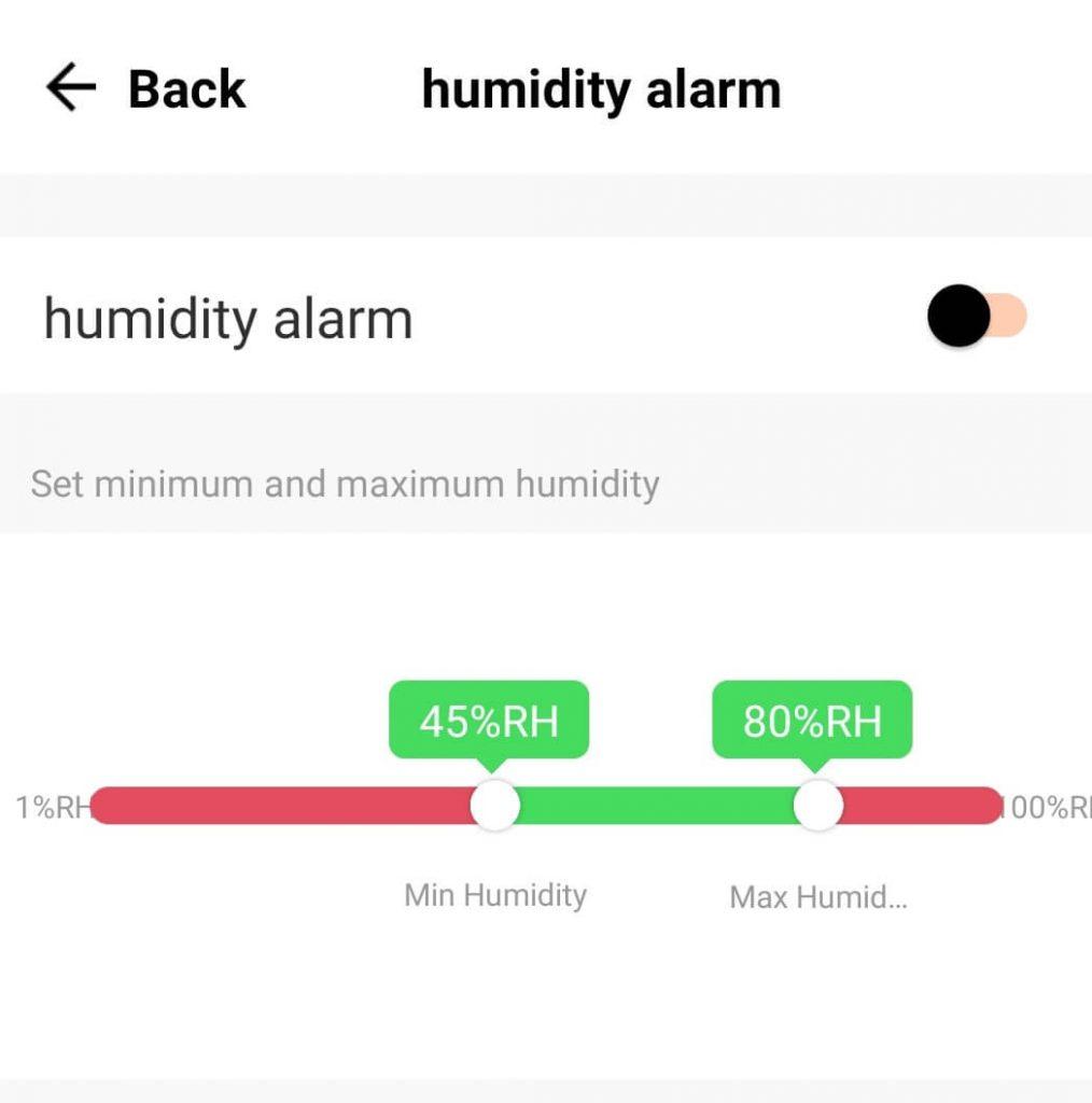 WiFi аларма настройки за влажност