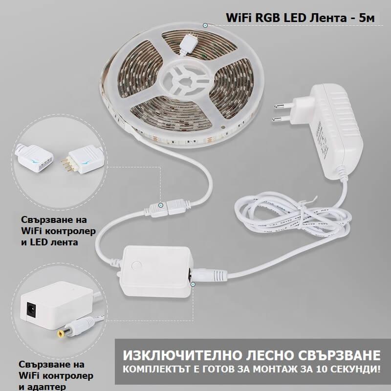 свързване на WiFi лента и контролер