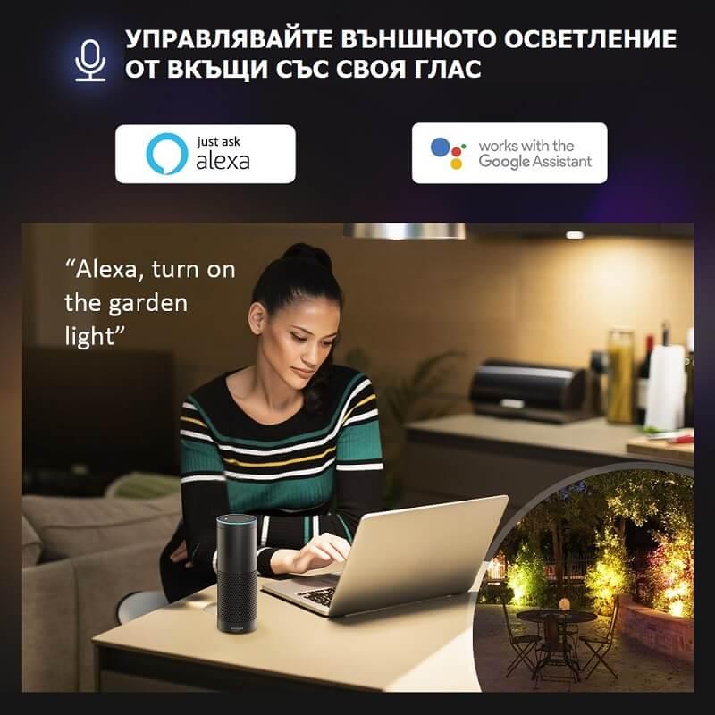 гласово управление на WiFi LED прожектор
