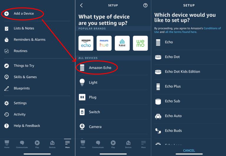 добавяне на amazon echo в Alexa app