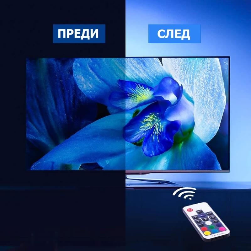 преди и след лед лента за телевизор