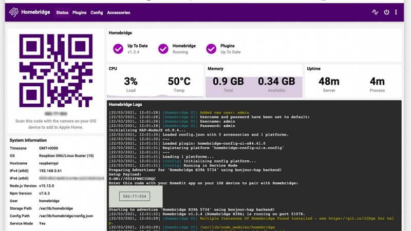 homebridge уеб интерфейс