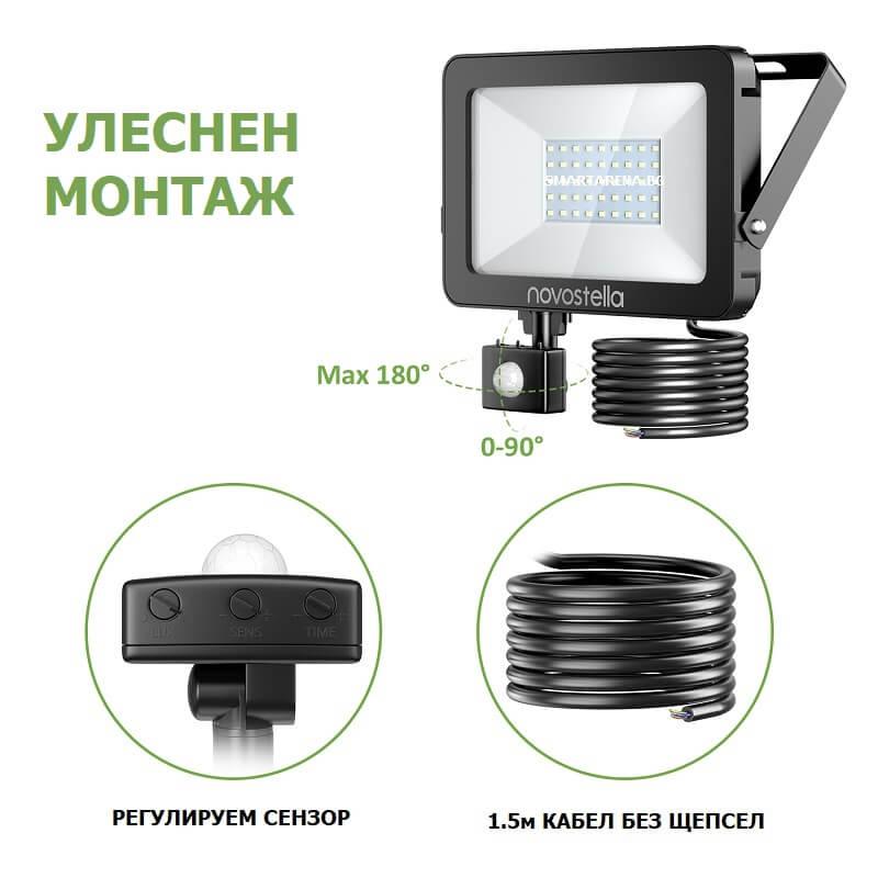 монтаж на лед прожектор с датчик за движение