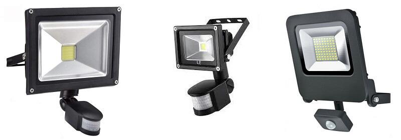 различни прожектори с датчик за движение